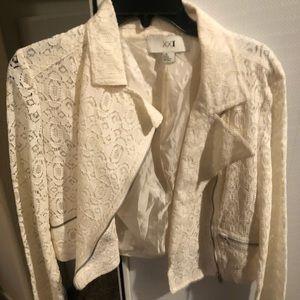 White lace zip-up jacket